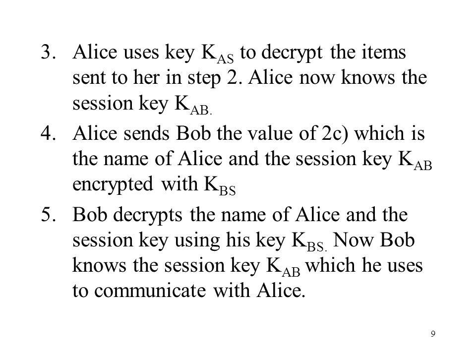 9 3.Alice uses key K AS to decrypt the items sent to her in step 2.
