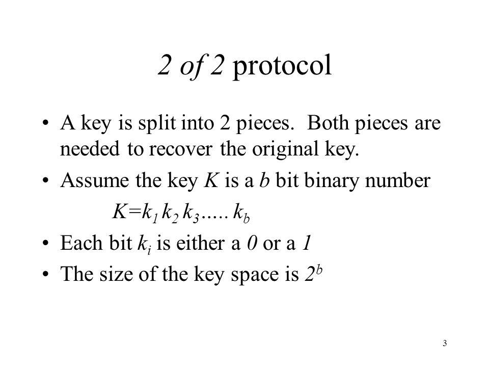 4 1.The first key piece X 1 is a b-bit string chosen at random.