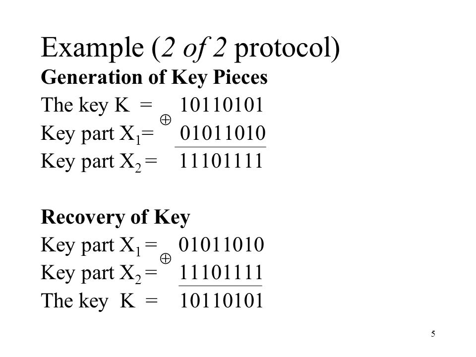 6 n of n protocol The 2 of 2 protocol can be generalised to an n of n protocol.