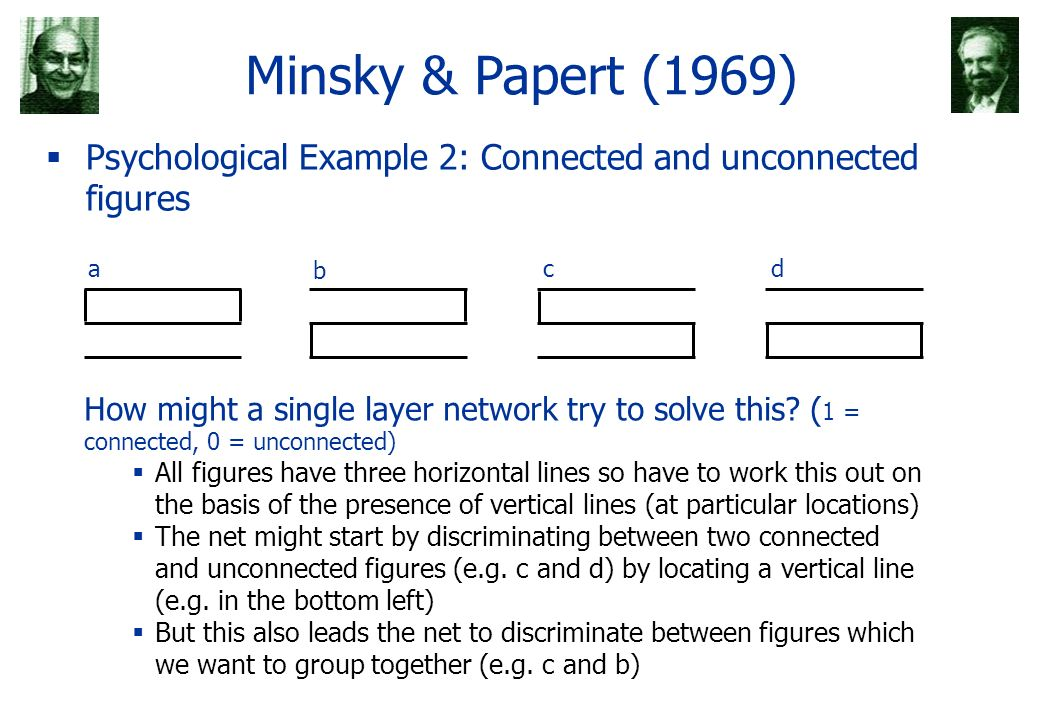 Minsky & Papert (1969) Psychological Example 2: Connected and unconnected figures adc b How might a single layer network try to solve this? ( 1 = conn