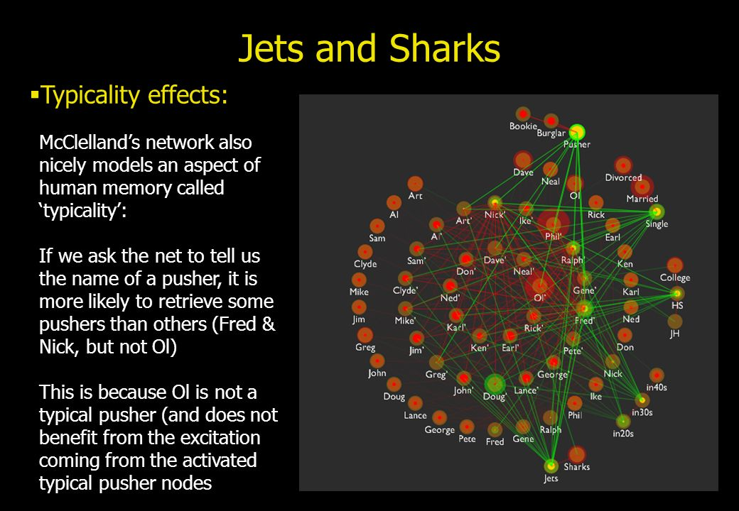 Jets and Sharks Typicality effects: McClellands network also nicely models an aspect of human memory called typicality: If we ask the net to tell us t
