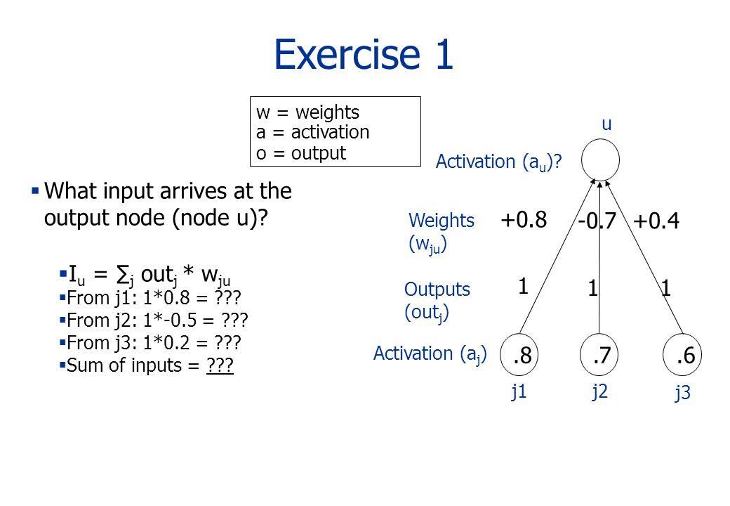 Exercise 1 Activation (a u )? Activation (a j ).8.7.6 1 1 1 Outputs (out j ) What input arrives at the output node (node u)? I u = j out j * w ju From