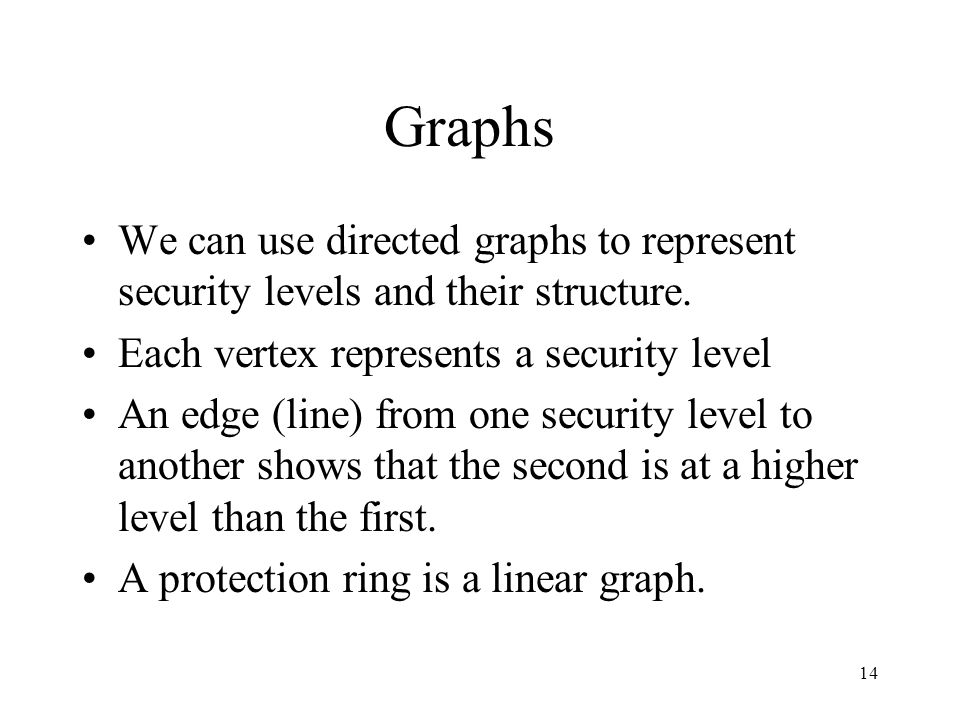 14 Graphs We can use directed graphs to represent security levels and their structure.