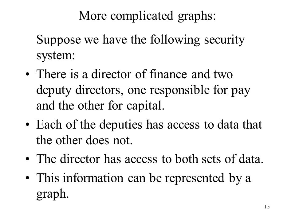 15 More complicated graphs: Suppose we have the following security system: There is a director of finance and two deputy directors, one responsible for pay and the other for capital.