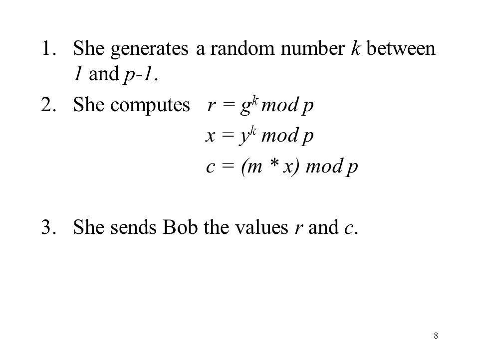 9 El Gamel Decryption Bob receives the ciphertext (r,c) from Alice.