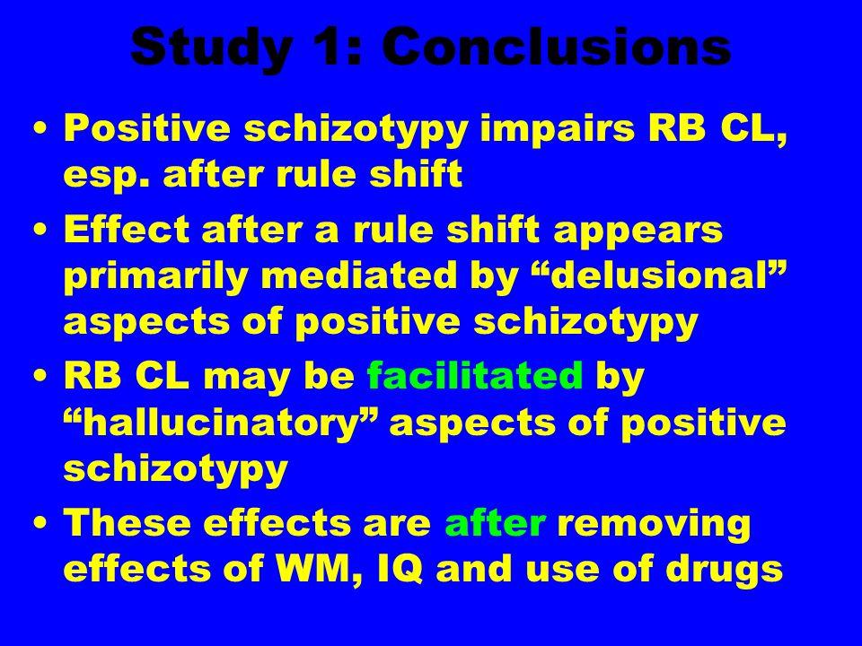 Study 1: Conclusions Positive schizotypy impairs RB CL, esp.