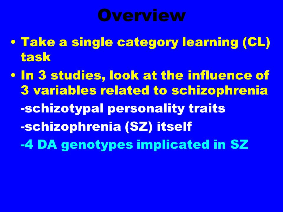 Overview Take a single category learning (CL) task In 3 studies, look at the influence of 3 variables related to schizophrenia -schizotypal personality traits -schizophrenia (SZ) itself -4 DA genotypes implicated in SZ
