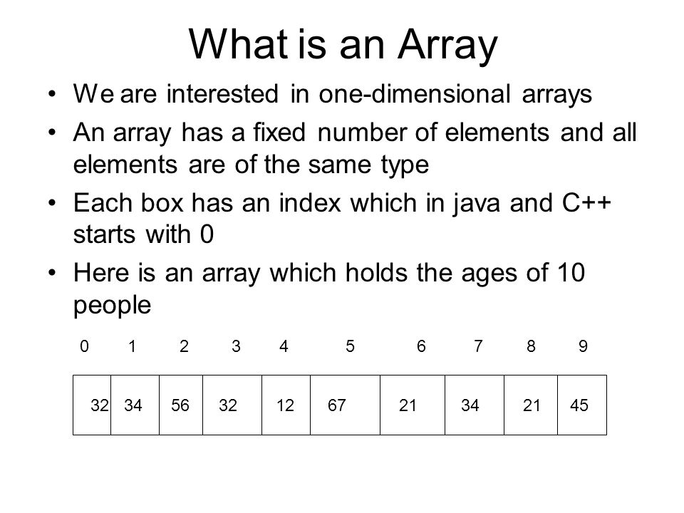 What is an Array We are interested in one-dimensional arrays An array has a fixed number of elements and all elements are of the same type Each box ha