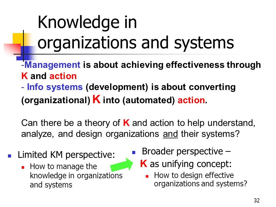 31 What is the role of knowledge in IS, and IS development? Where is the knowledge? What kinds of knowledge? Whose knowledge? How does knowledge get i
