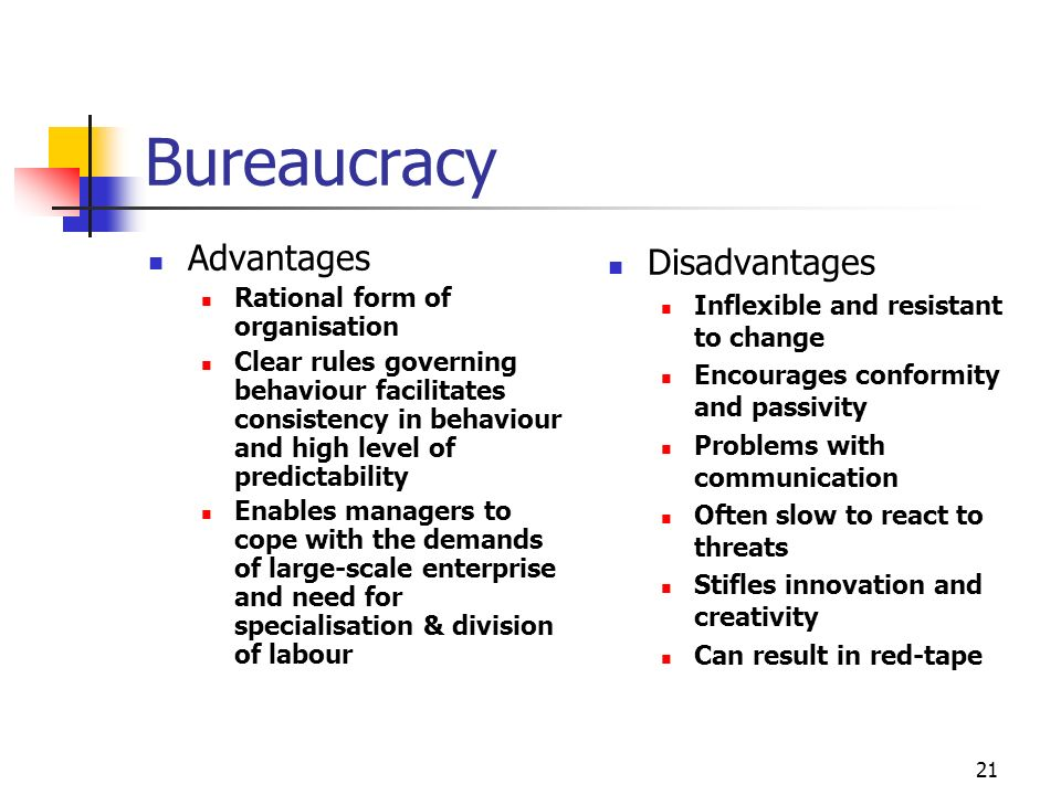 20 Contingency Approach Organisations may share some similar characteristics but they differ in important ways There is no one right way to manage them The structure of an organisations should reflect its unique characteristics Structure is influenced by the organisations mission, its external environment, size, technology, demography, labour force characteristics Decisions about structure rest with senior management but structure is also created by the daily interactions of staff