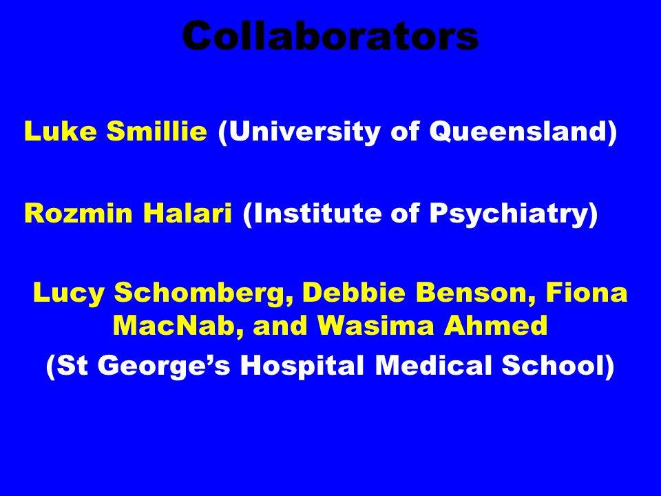Collaborators Luke Smillie (University of Queensland) Rozmin Halari (Institute of Psychiatry) Lucy Schomberg, Debbie Benson, Fiona MacNab, and Wasima