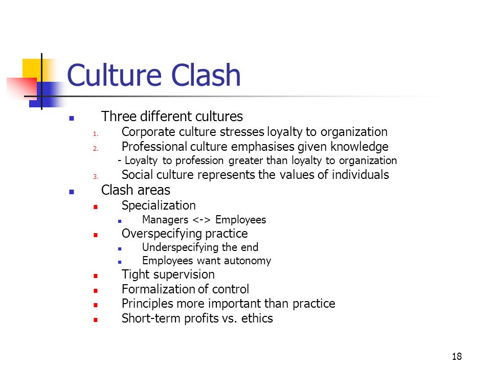 17 Changing Culture Change is often resisted even though it is known to be needed People do not know in which way or how to change Poor abilities at d