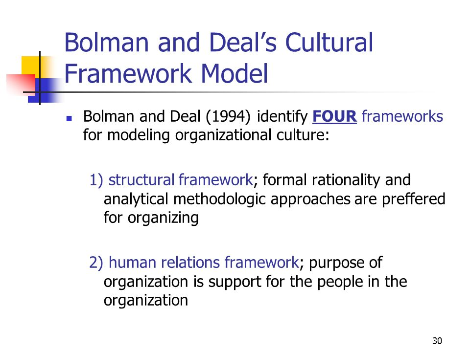 29 Cultural Framework Models Sage introduces two separate works on cultural frameworks Bolman and Deals (1991), and Bergquist (1992). They all are bui