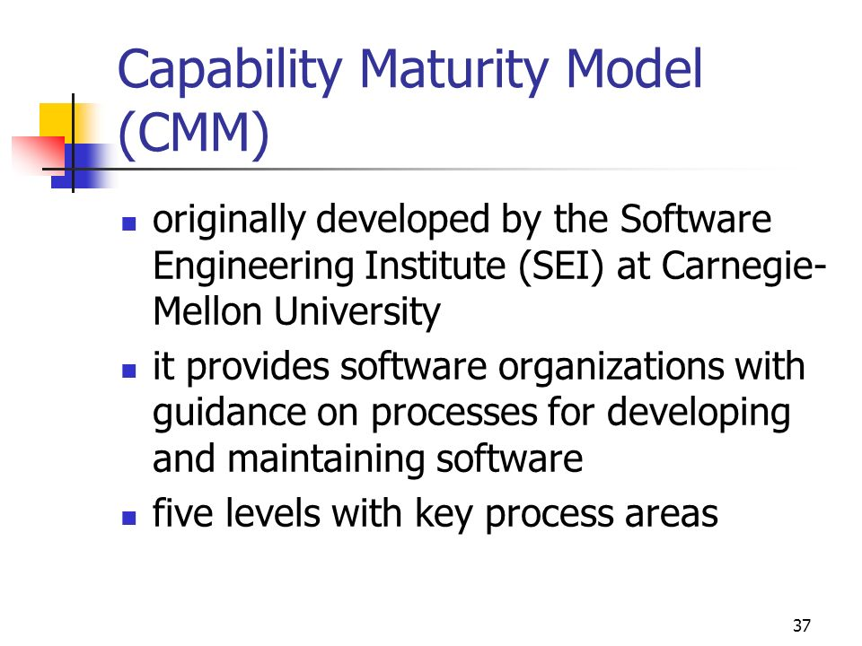 36 Crosby five stages of development of quality maturity inspiration for the other maturity models 1. Uncertainty 2. Awakening 3. Enlightment 4. Wisdo