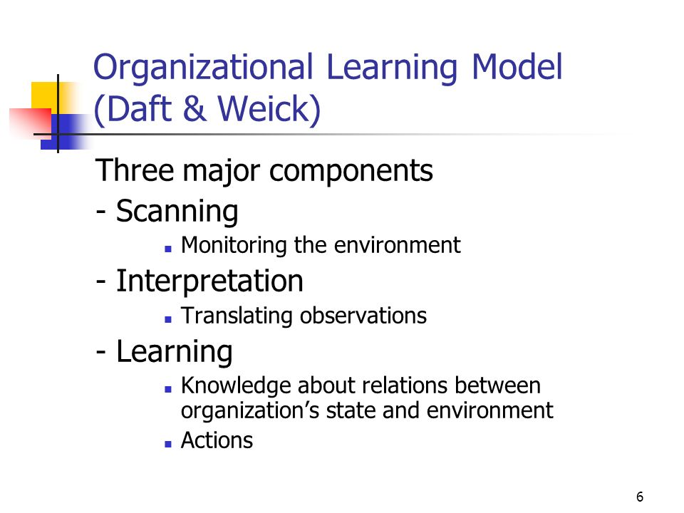 5 Open System View of Organizations Interested in both the objectives and responses to internal and external influences Organizational activities (Wei
