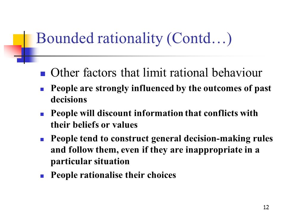 11 Bounded Rationality (Contd….) Identify problem Determine minimum criteria all alternatives must meet Choose the alternative that best deals with th