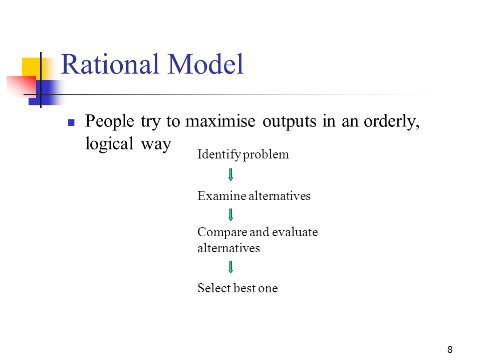 7 Decision-Making Models Rational Model Decision-making by individuals is the outcome of logical, rational processes Bounded Rationality Various facto
