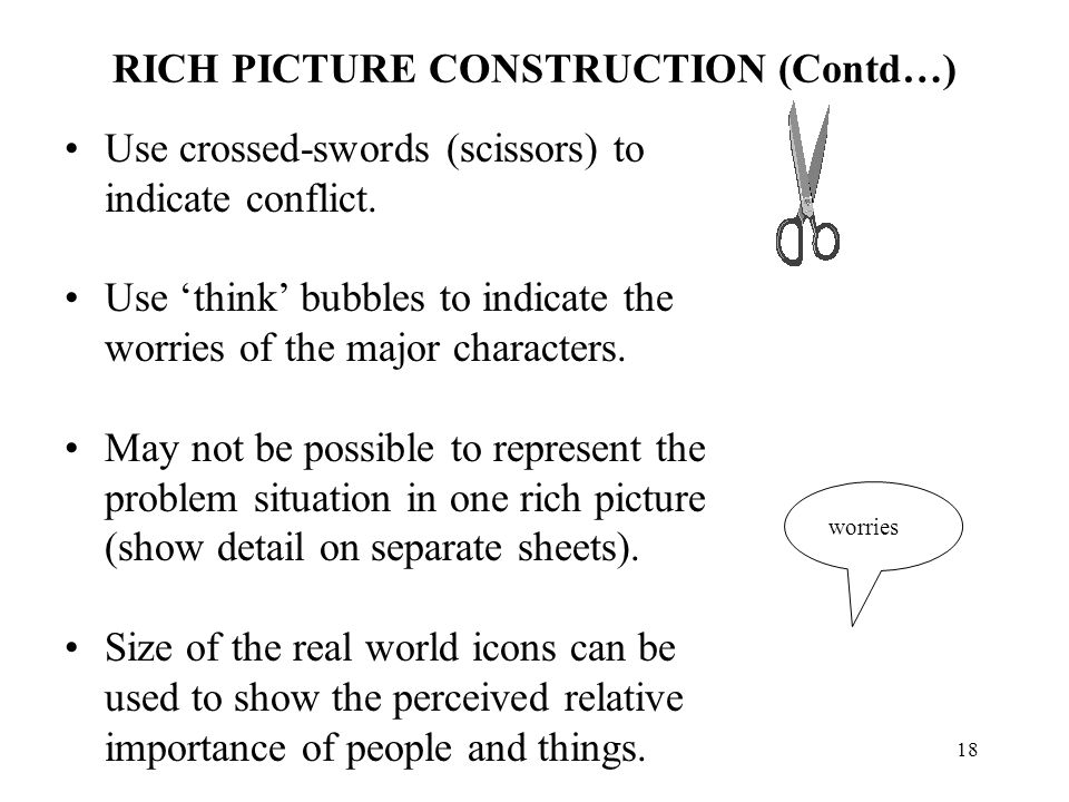 17 RICH PICTURE CONSTRUCTION Draw a large bubble at the centre of the page to represent the problem situation. Using real world icon, sketch people an