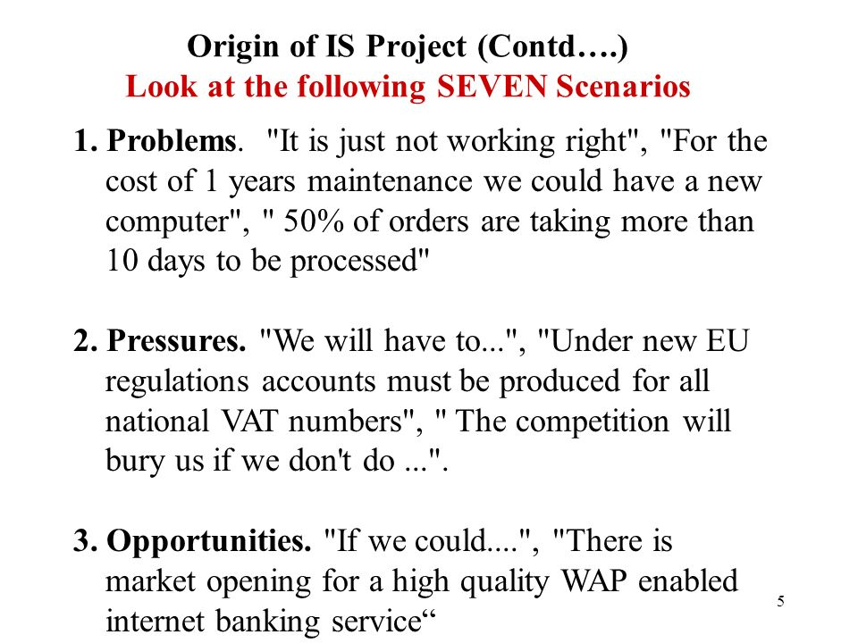 4 Origin of IS Project (Contd….) What are we looking for anyway.