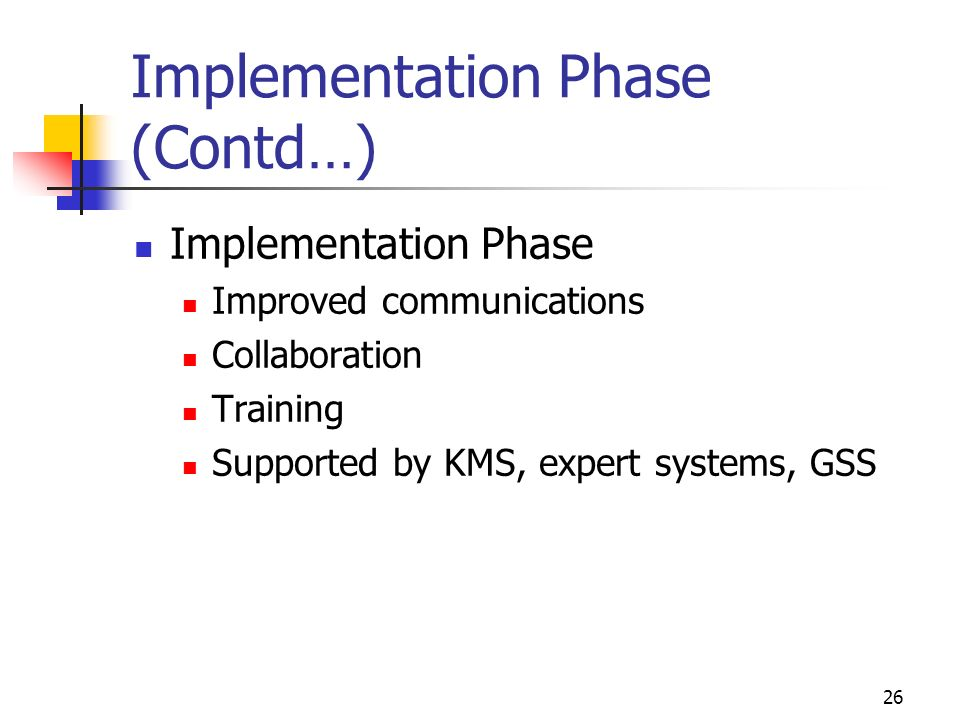 25 Decision-Making Implementation Phase Putting solution to work Vague boundaries which include: Dealing with resistance to change User training Upper