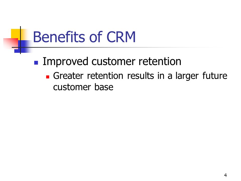 3 Outline Benefits of a CRM program Cultural changes The four phases of implementation Research & Best practices Casino case ITs role in CRM CRMs relation to the supply chain