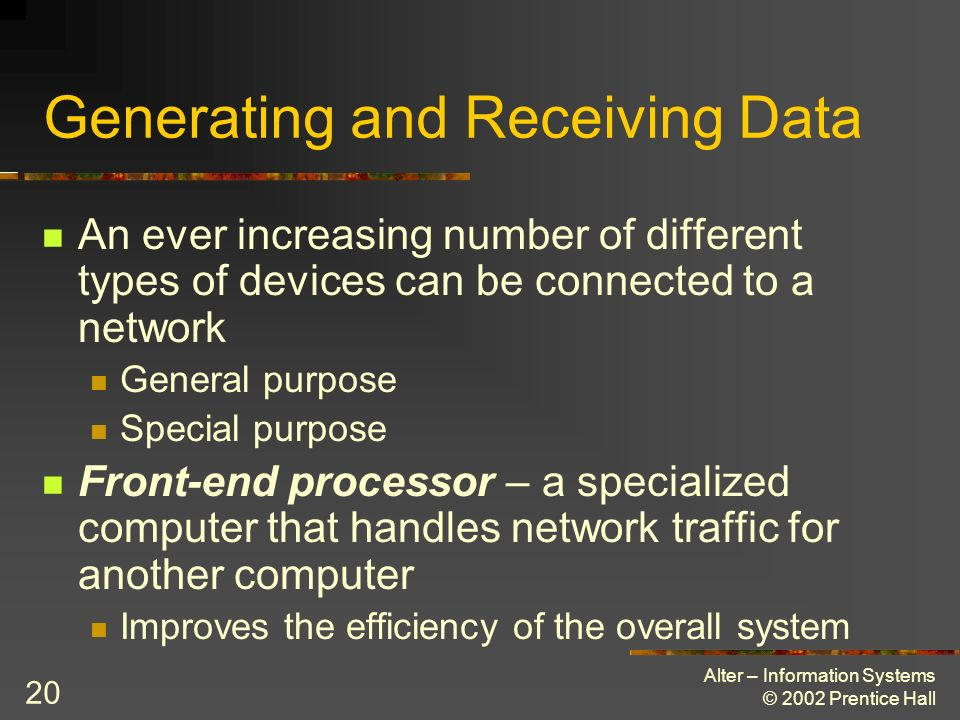 Alter – Information Systems © 2002 Prentice Hall 20 Generating and Receiving Data An ever increasing number of different types of devices can be conne
