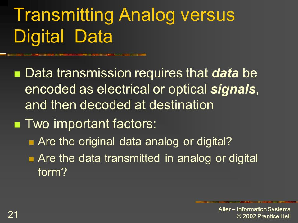 Alter – Information Systems © 2002 Prentice Hall 21 Transmitting Analog versus Digital Data Data transmission requires that data be encoded as electri