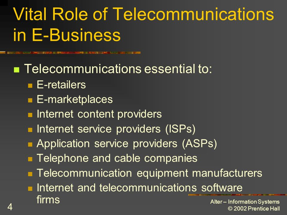 Alter – Information Systems © 2002 Prentice Hall 5 Convergence of Computing and Communications Reliance of telecommunications on computers Role of telecommunications in computing New wired and wireless transmission New combinations of data and computing