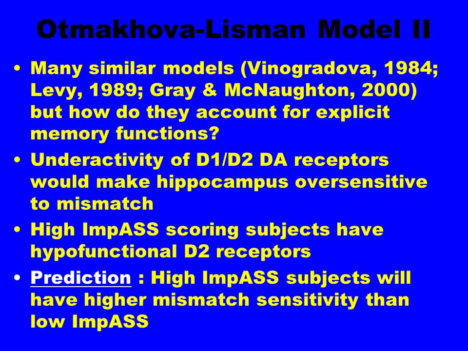 Otmakhova-Lisman Model II Many similar models (Vinogradova, 1984; Levy, 1989; Gray & McNaughton, 2000) but how do they account for explicit memory functions.