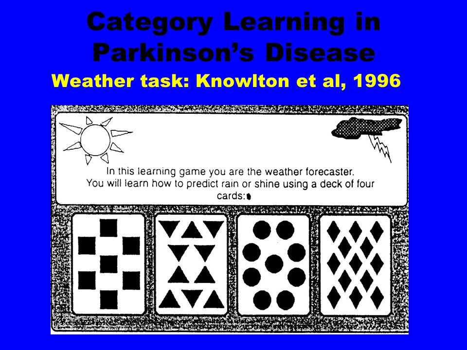 Category Learning in Parkinsons Disease Weather task: Knowlton et al, 1996