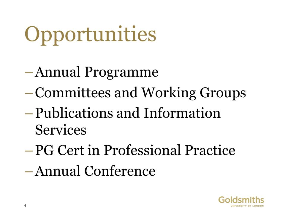 4 Opportunities –Annual Programme –Committees and Working Groups –Publications and Information Services –PG Cert in Professional Practice –Annual Conference