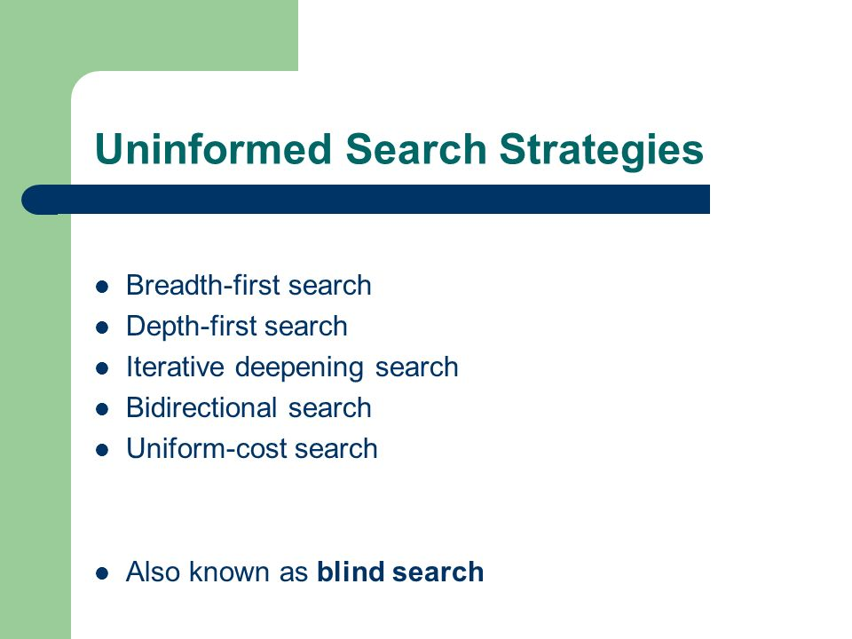 Uninformed Search Strategies Breadth-first search Depth-first search Iterative deepening search Bidirectional search Uniform-cost search Also known as