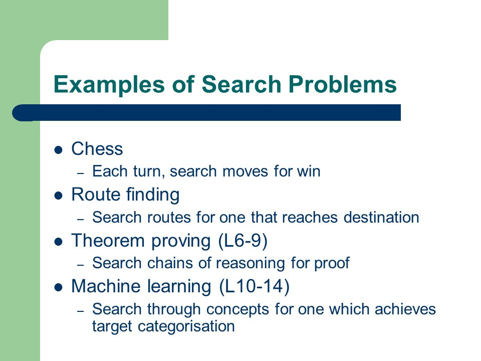 Search Terminology States: places the search can visit Search space: the set of possible states Search path – Sequence of states the agent actually visits Solution – A state which solves the given problem Either known or has a checkable property – May be more than one solution Strategy – How to choose the next state in the path at any given state