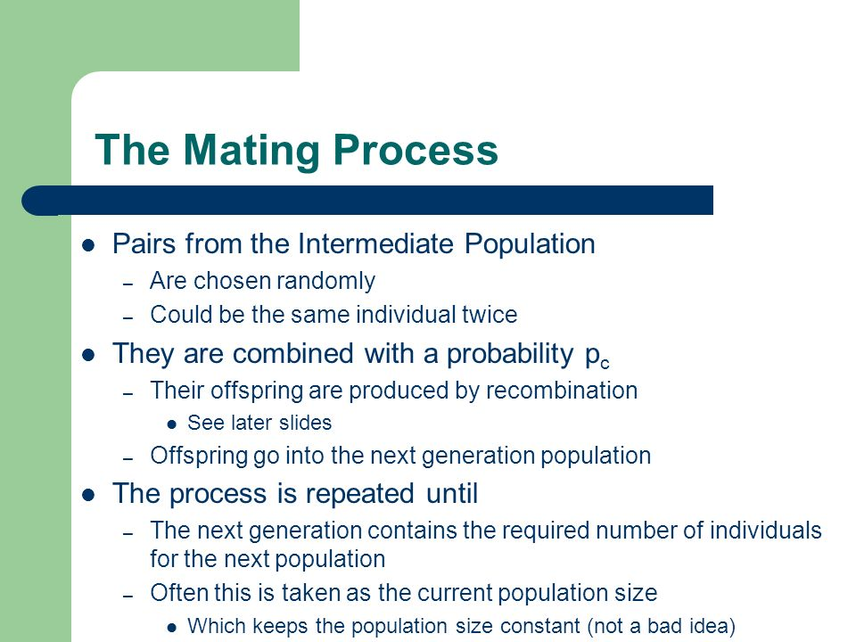 The Mating Process Pairs from the Intermediate Population – Are chosen randomly – Could be the same individual twice They are combined with a probabil