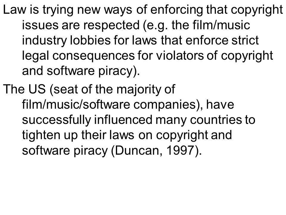 Law is trying new ways of enforcing that copyright issues are respected (e.g.