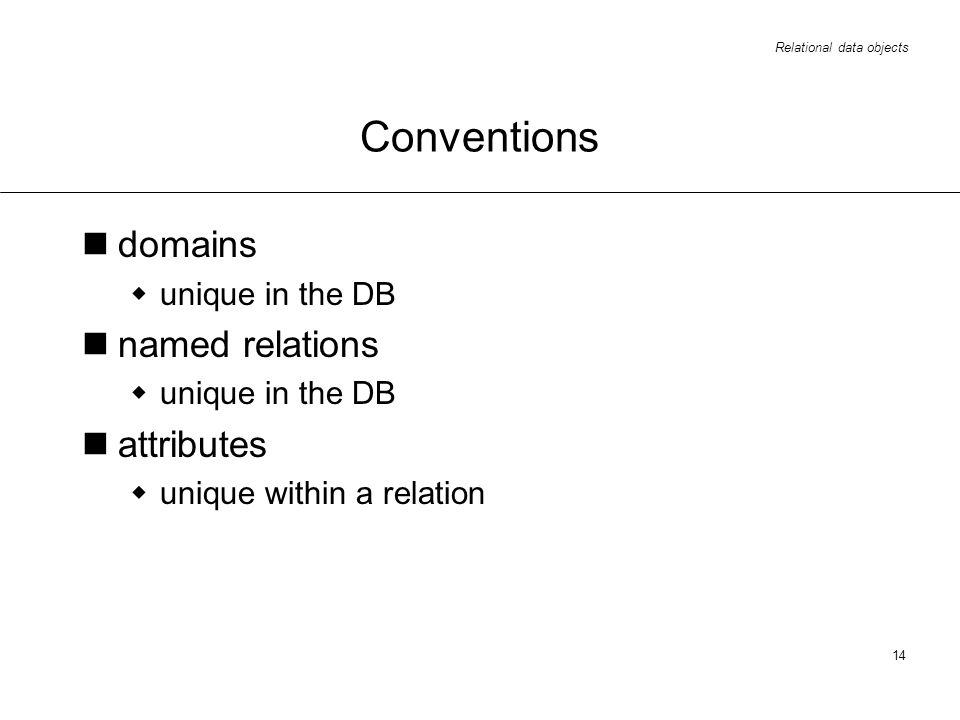 Relational data objects 14 Conventions domains unique in the DB named relations unique in the DB attributes unique within a relation