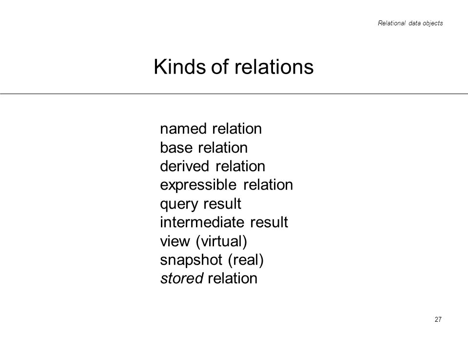 Relational data objects 27 Kinds of relations named relation base relation derived relation expressible relation query result intermediate result view (virtual) snapshot (real) stored relation