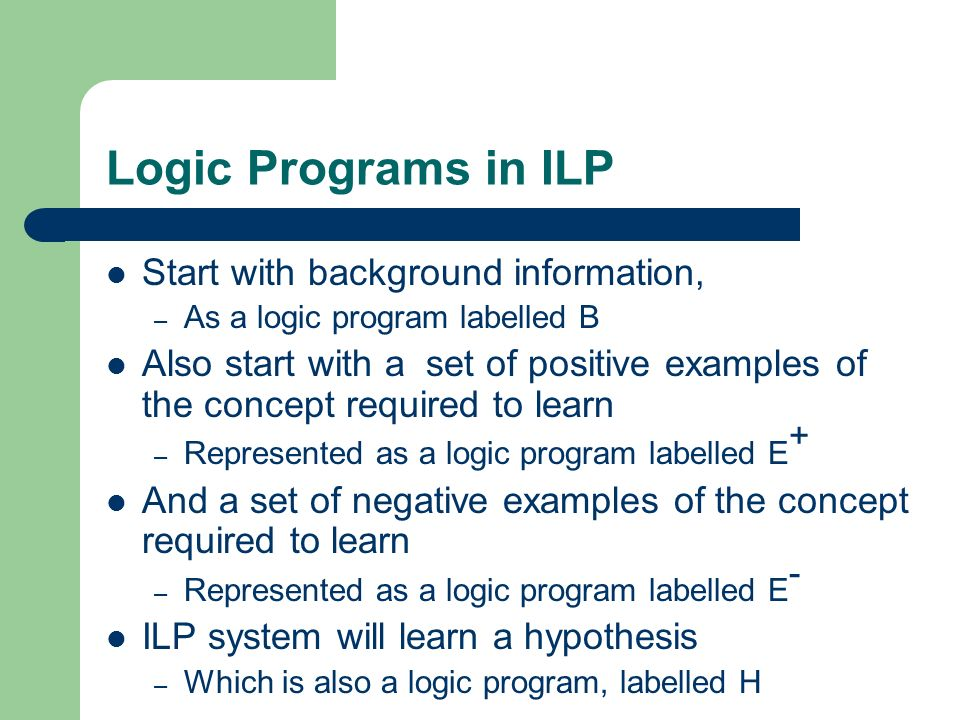 Logic Programs in ILP Start with background information, – As a logic program labelled B Also start with a set of positive examples of the concept required to learn – Represented as a logic program labelled E + And a set of negative examples of the concept required to learn – Represented as a logic program labelled E - ILP system will learn a hypothesis – Which is also a logic program, labelled H