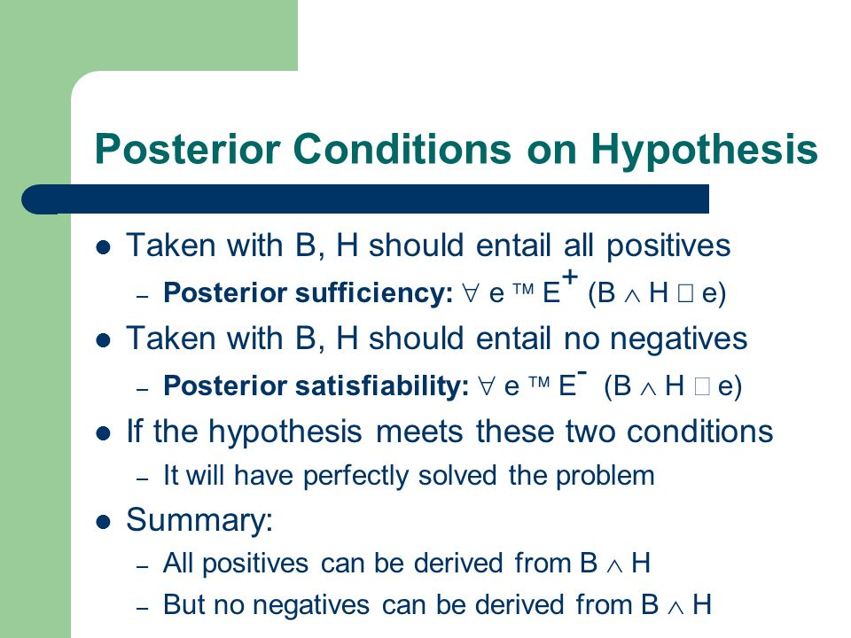 Posterior Conditions on Hypothesis Taken with B, H should entail all positives – Posterior sufficiency: e E + (B H e) Taken with B, H should entail no negatives – Posterior satisfiability: e E - (B H e) If the hypothesis meets these two conditions – It will have perfectly solved the problem Summary: – All positives can be derived from B H – But no negatives can be derived from B H