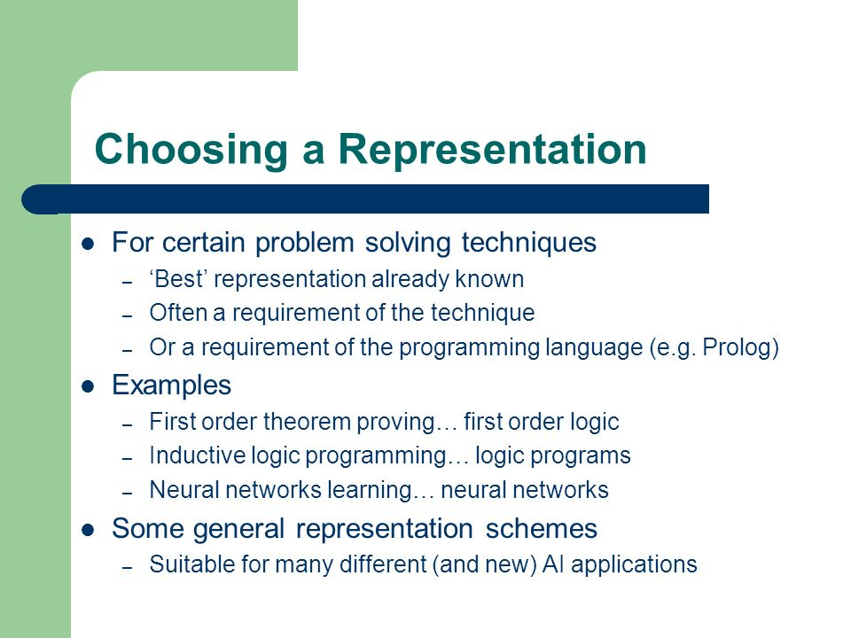 Choosing a Representation For certain problem solving techniques – Best representation already known – Often a requirement of the technique – Or a req