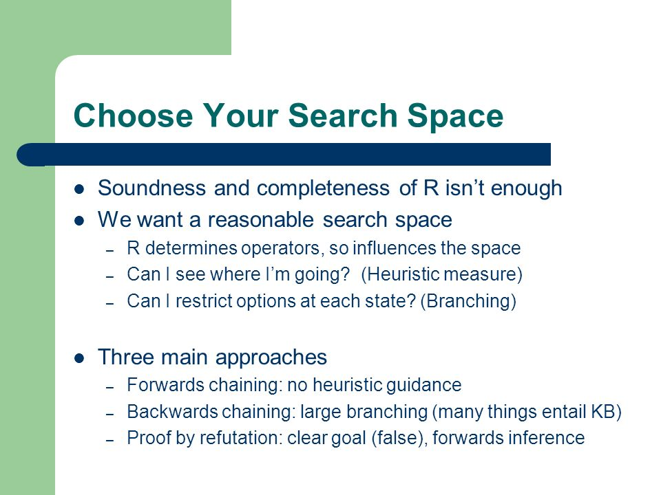 Choose Your Search Space Soundness and completeness of R isnt enough We want a reasonable search space – R determines operators, so influences the spa