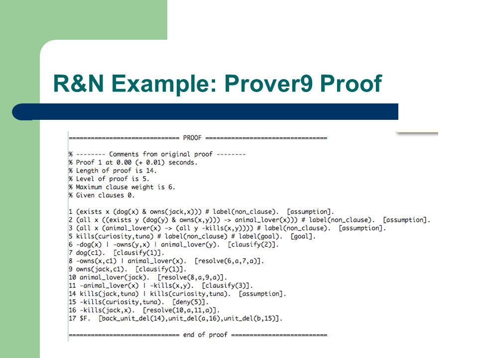 R&N Example: Prover9 Proof