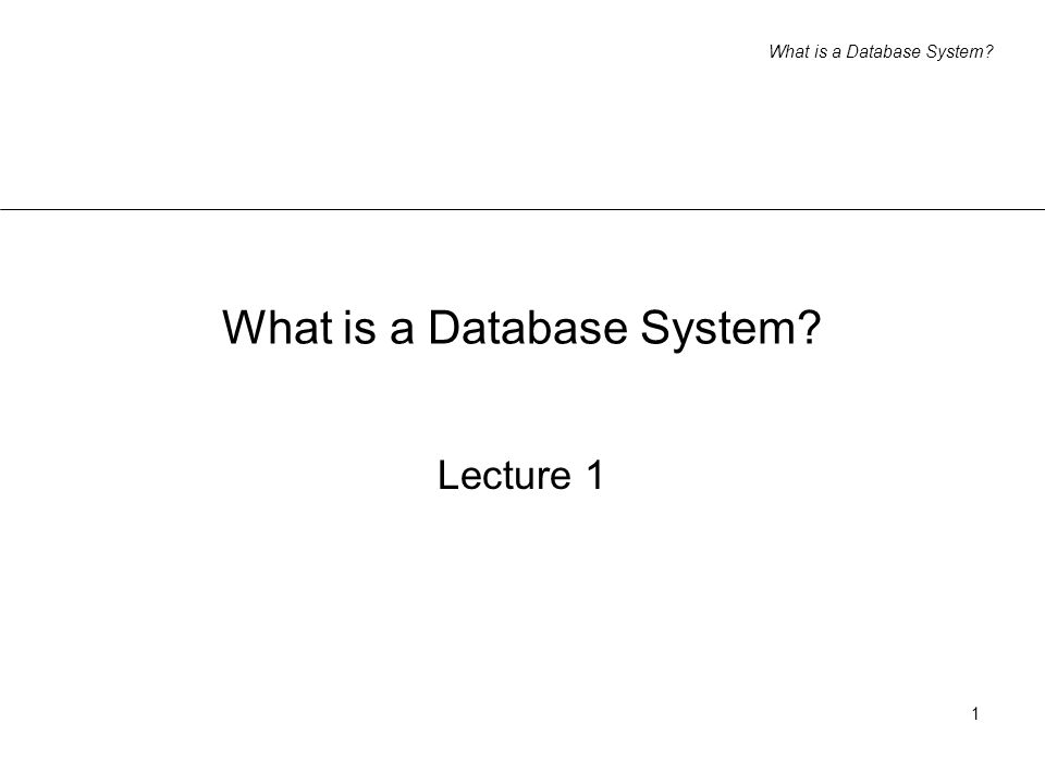 What is a Database System 1 Lecture 1