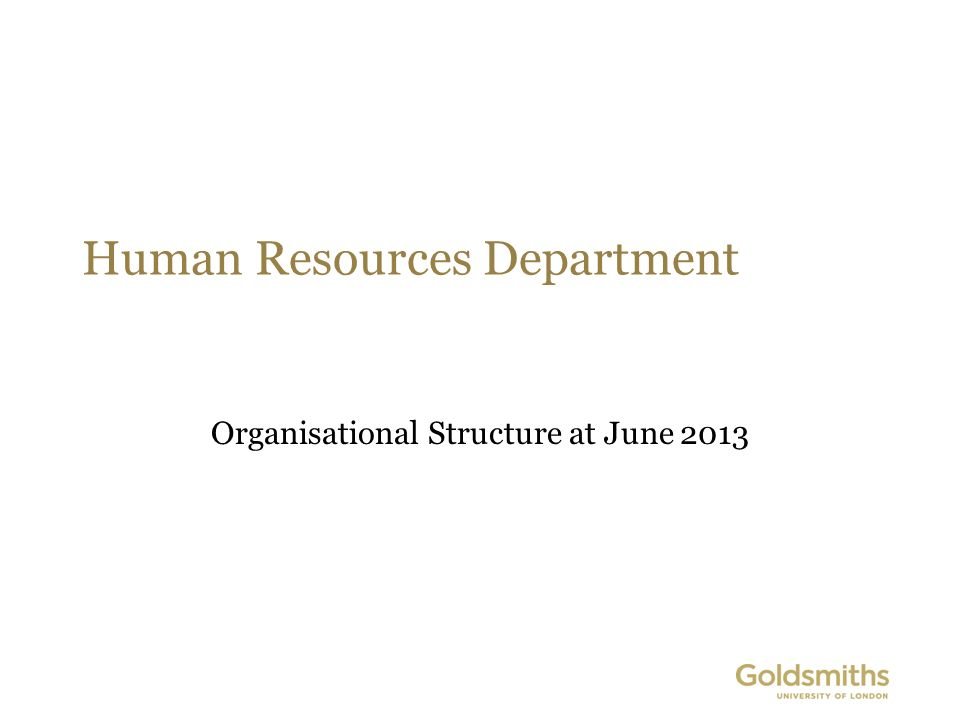 Human Resources Department Organisational Structure at June 2013