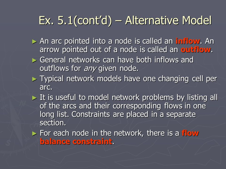 Ex.5.1(contd) – Alternative Model An arc pointed into a node is called an inflow.