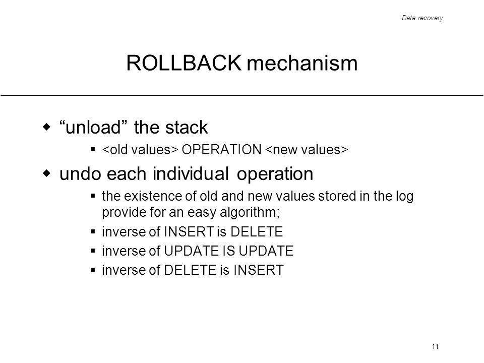 Data recovery 11 ROLLBACK mechanism unload the stack OPERATION undo each individual operation the existence of old and new values stored in the log provide for an easy algorithm; inverse of INSERT is DELETE inverse of UPDATE IS UPDATE inverse of DELETE is INSERT