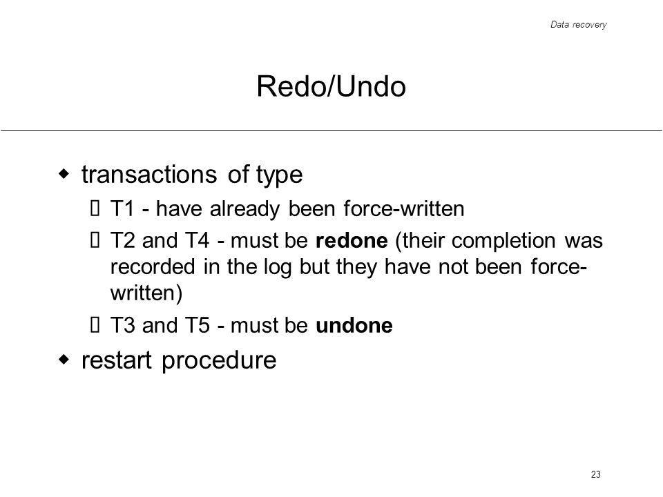 Data recovery 23 Redo/Undo transactions of type T1 - have already been force-written T2 and T4 - must be redone (their completion was recorded in the log but they have not been force- written) T3 and T5 - must be undone restart procedure