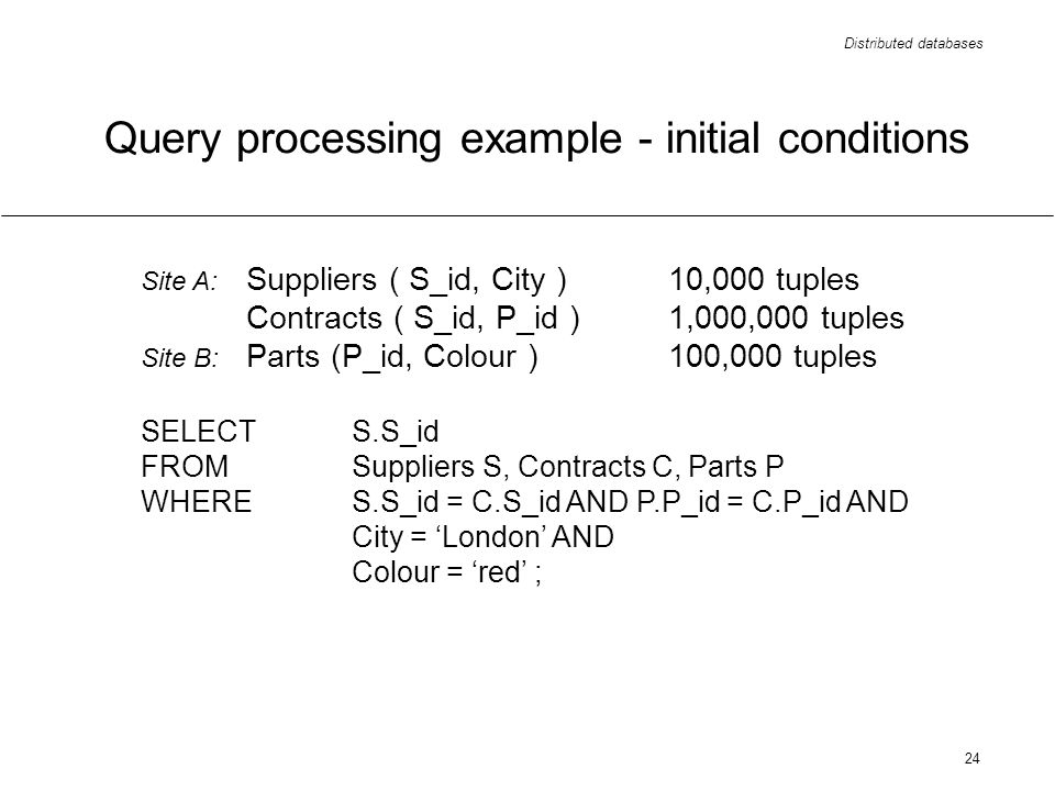 Distributed databases 24 Query processing example - initial conditions Site A: Suppliers ( S_id, City ) 10,000 tuples Contracts ( S_id, P_id )1,000,00