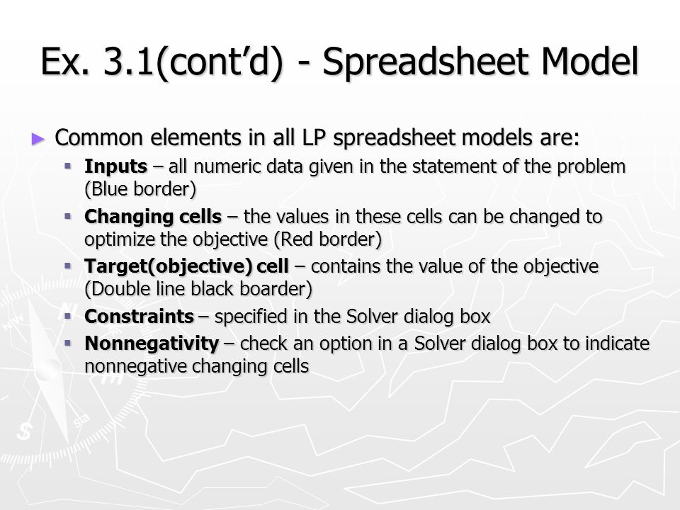 Ex. 3.1(contd) - Spreadsheet Model Common elements in all LP spreadsheet models are: Common elements in all LP spreadsheet models are: Inputs – all nu