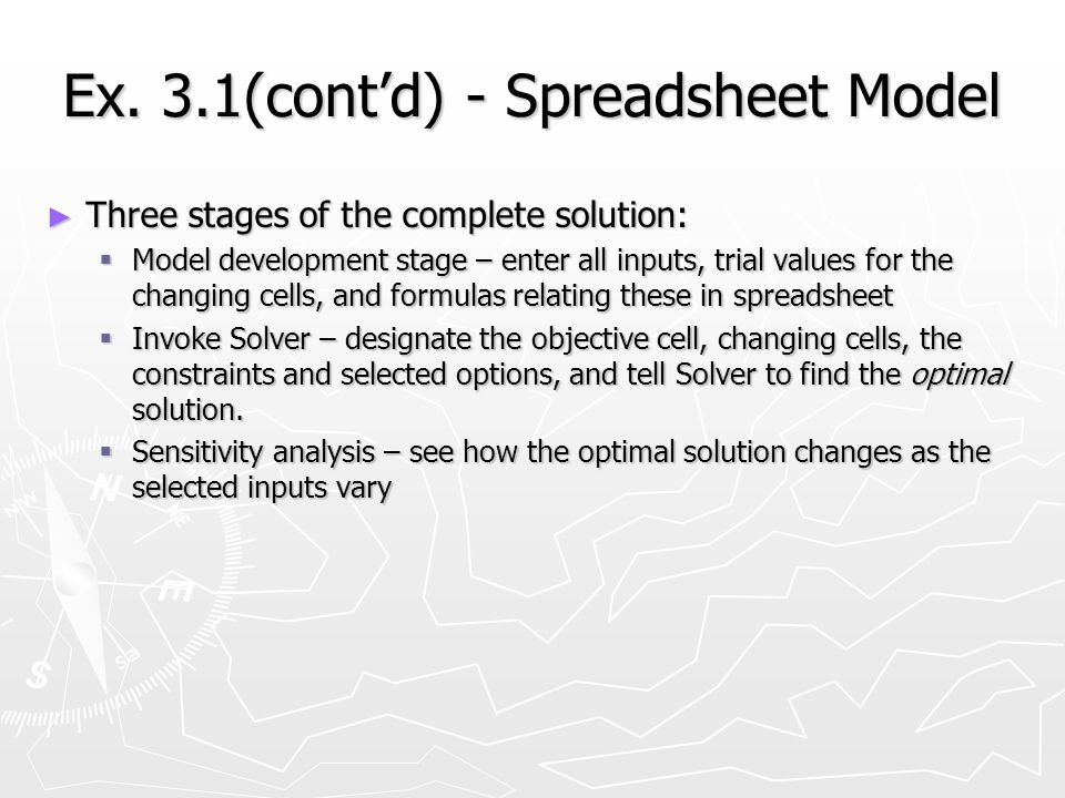 Ex. 3.1(contd) - Spreadsheet Model Three stages of the complete solution: Three stages of the complete solution: Model development stage – enter all i